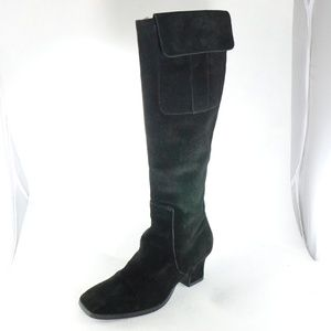 NEWPORT NEWS Black Suede Pocket Knee High Boots